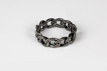 anello in argento 925 martellato a catena grumetta