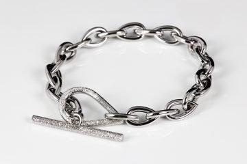 bracciale in argento 925 lucido con catena