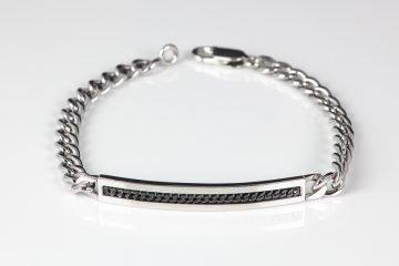 bracciale da uomo in argento 925 lucido con catena grumetta